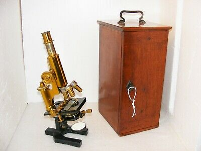 CARL ZEISS MICROSCOPE No.17923 WITH MECHANICAL STAGE & ACCESSORIES c.1880s