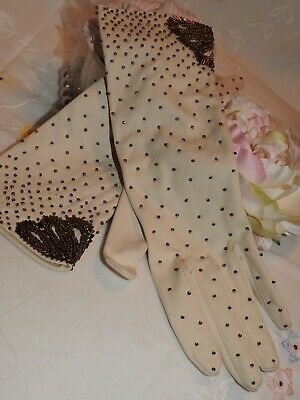 Vintage 1950's/60's Cream Beaded Evening Gloves Size 7  'Simplex'  Hong Kong