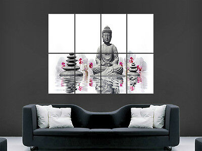 Lord Buddha Poster Zen Relax Flowers Religion Buddhism Art Picture Print Large