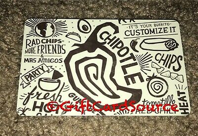 2014 Chipotle Gift Card Chips Party Guac The Walk Fresh Hot! Collectible New
