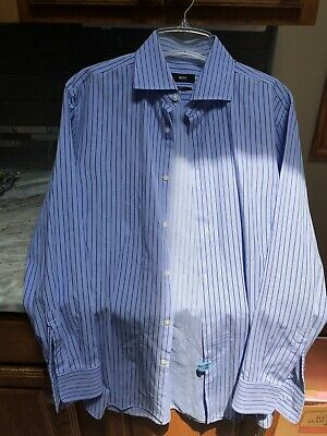 a50b98fa7 HUGO BOSS Mens Blue Check & Stripe Button Front Sharp Fit Dress Shirt 16.5  32/