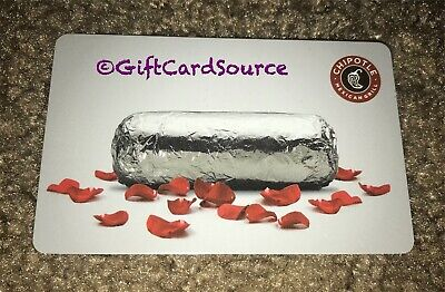 2014 Chipotle Gift Card Burrito Rose 🌹 Petals Collectible New