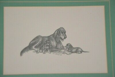 Geri Reimer Gordon Setter mom and puppies print with mat and frame