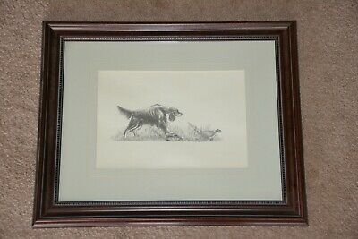 Geri Reimer Gordon Setter on point with pheasant print, framed and matted