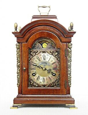"Superb Warmink Dutch Moonphase Bell-Striking Mahogany Bracket Clock, 12"" H"