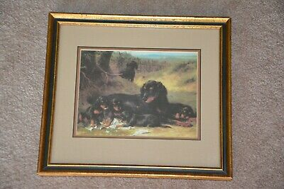 Otto Eerelman- Digesting the News, Gordon Setter and puppies print mat and frame