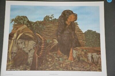 Steven Nesbitt- Awaiting His Master, Gordon Setter limited edition print, matted