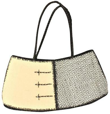 Straw Decorative Sun Purse Tote, Travel Or Beach Woven Off White and Black NWOT