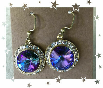 Amazing Swarovski Rivoli Crystal earrings Vitrail Light w Rhinestones 14mm