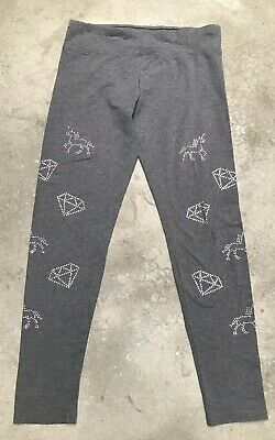 1cc68be65ad90a JUSTICE Girl's Size 18 Stretch Leggings Pants Grey Unicorns Diamonds  Embellished