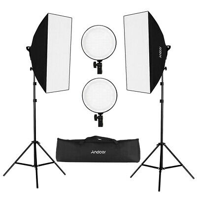 Studio Photography LED Continuous Lighting Kit Softbox Stand w/Carrying Bag G7P4