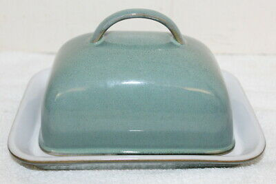 Denby England Harlequin Handled Butter Dish ~ Green Blue ~ Very Good Condition
