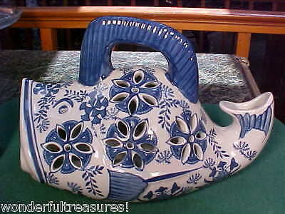 UNIQUE Whale Fish Shaped Candle Holder Votive COBALT BLUE & White Delft NEW!