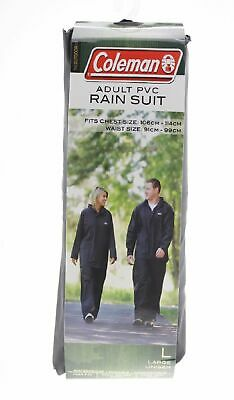 COLEMAN ADULT UNISEX RAINSUIT COAT JACKET 20mm PVC - BLACK SIZE L