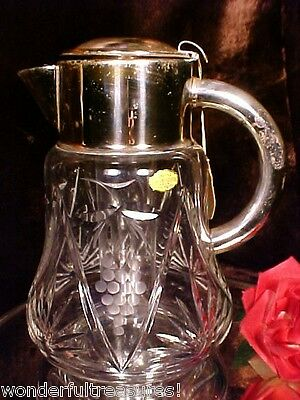 Vintage CUT GLASS GRAPES SUNBURSTS Crystal SILVER PLATE Wine Cooler West Germany