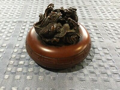 Vintage Chinese wooden container with 2 fighting dragons on the lid