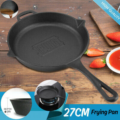 CAST IRON FRYING PAN SKILLET 27cm W/HANDLE STRONG ROUND COOKWARE FOR GAS STOVE