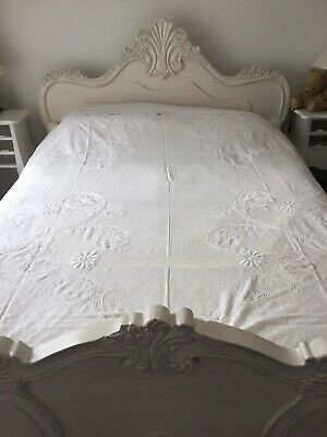 Beautiful White Cotton Antique Embroidered Bedspread