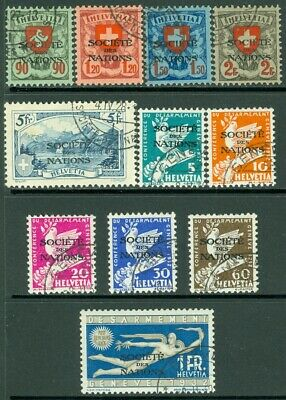 EDW1949SELL : SWITZERLAND 1922-32 Sc #2O31a-34, 35-41 Cplt sets VF Used Cat $247