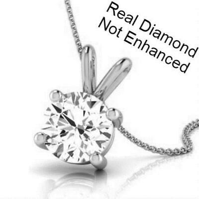 0.75 Ct D Vs2 Real Natural Clarity Diamond Pendant Necklace 14K White Gold