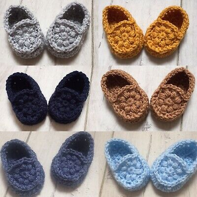 Handmade Crocheted/Knitted Baby Booties/Loafers Newborn & 0-3 Months
