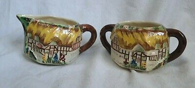 Vintage Bone China Milk Jug & Sugar Bowl Ann Hathaway's Cottage.