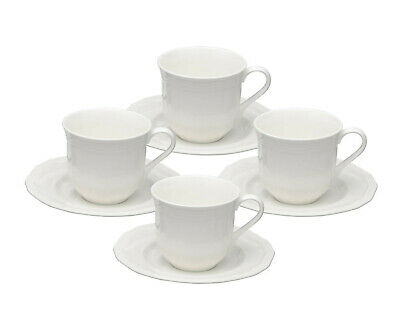 Mikasa Ultima + Antique White Coffee Tea Cups and Saucers ~ Set of 4 ~ HK-400