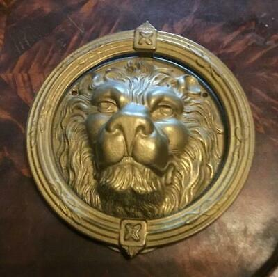 Large Vintage Brass Lions Head Ornate Architectural Decorative Arts Door Knocker
