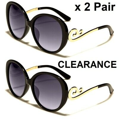 VG Women's Sunglasses x 2 Pair - Large Vintage Designer Style Frame CLEARANCE