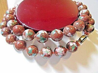 Dark Chinese Red Brown Pink Flowers Enamel Cloisonne Necklace Chinese Hand Knot