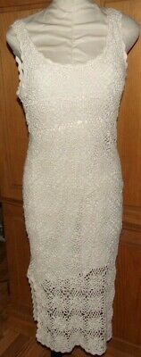 VTG Newport News FX Crocheted Ivory Cream Boho Bodycon Summer Beach Dress 12-M