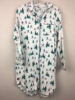 LANDS END Flannel NIGHTGOWN NIGHT SHIRT Christmas Shopping Snow Winter Sz MP