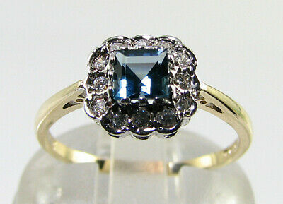 Dainty 9K 9Ct Gold London Blue Topaz Diamond Halo Art Deco Ins Ring Free Resize
