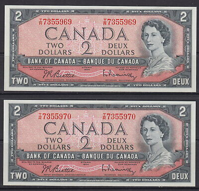 1954 Bank Of Canada $2 Dollar Tr7355969-70 Consecutive Serial Numbers Unc Notes