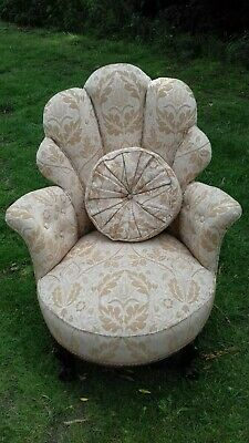 Antique Queen Anne Chair And Cushion In Salmon Pink