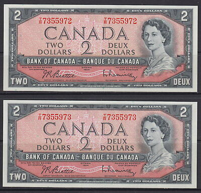 1954 Bank Of Canada $2 Dollar Tr7355972-73 Consecutive Serial Numbers Unc Notes