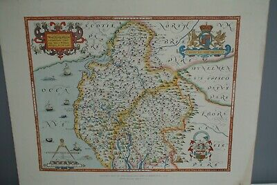 1576 Saxton Map Westmorland & Cumberland Emery Walker Ltd Collotypers Hand Col