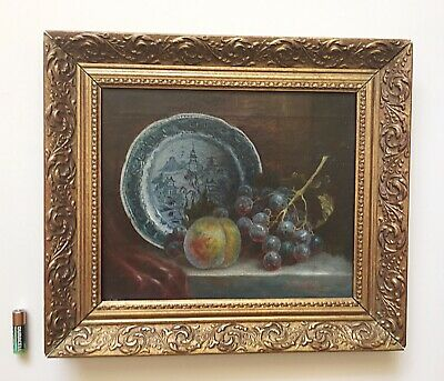 Antique Oil Painting Still Life On Canvas Gilt Wood Frame Signed 19th Century