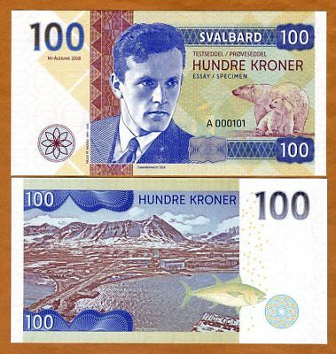 Svalbard (Norway), 100 Kroner, 2018, Private Issue, UNC > Helge Ingstad