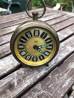 Vintage Miniature Wind-Up Jerger Anker German Brass Alarm Clock - Works Fine!