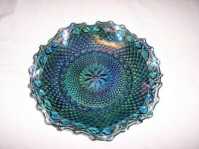 Indiana Blue Iridescent Carnival Glass Ruffled Hostess Plate