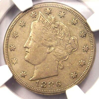 1886 Liberty Nickel 5C - NGC XF40 (EF40) - Rare Date Certified Coin - $655 Value
