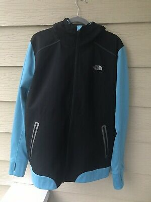 The North Face Shell Jacket Soft Polyester Black Blue Mens Large With Hood EUC!