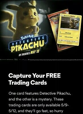 2 Packs (!) of AMC Pokemon Detective Pikachu Movie Trading Card Pack PROMO