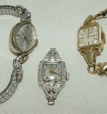 14K Gold Diamond VINTAGE LADIES WATCH LOT of 3 Hamilton, Longines, Wittnauer