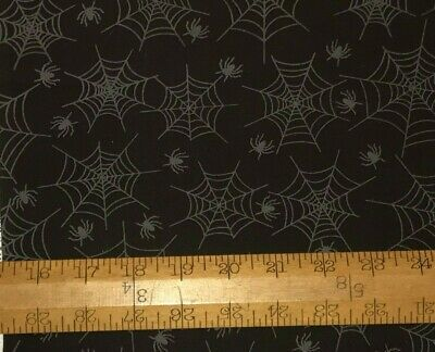 1/2 Yd Spiders & Webs Halloween Black Cotton Quilt Fabric BTHY