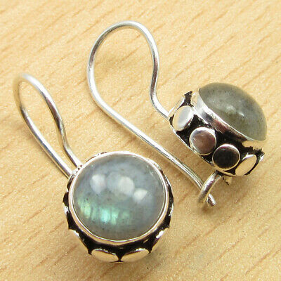 """925 Silver Overlay Dazzling Labradorite NICE Earrings 0.8"""" GIFT FOR LOVED ONES"""