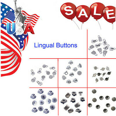 7 Models Dental Orthodontic Lingual Buttons Bondable Round Mesh Base USA