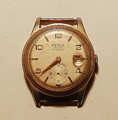 Vintage wristwatch FERO date for repair or parts swiss made