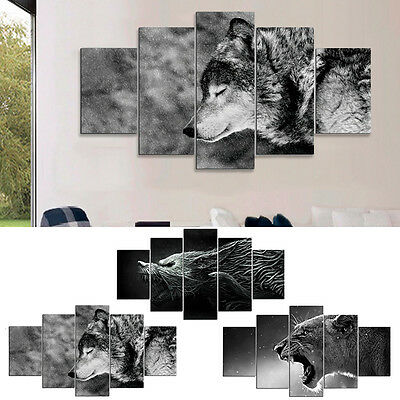 5Pcs HD Canvas Print Wall Art Animal Painting Wolf Picture Unframed Home Decor